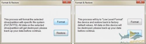 Функция восстановления осуществляет низкоуровневое форматирование