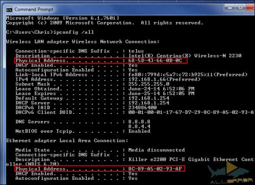 MAC-адрес в Windows, Linux и Mac