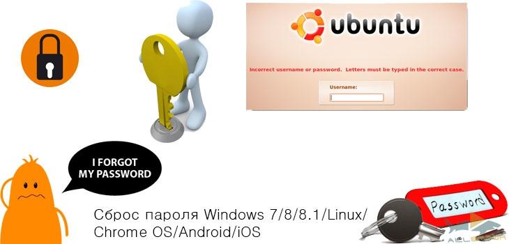 Сброс пароля Windows 7/8/8.1/Linux/Chrome OS/Android/iOS. Как обойти и сбросить пароль в любой операционной системе
