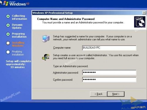 Придумайте имя для компьютера и пароль администратора