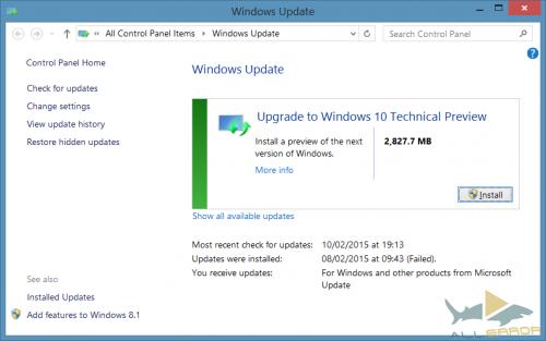 обновиться до технического превью Windows 10.
