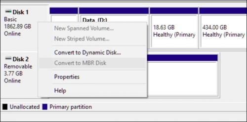 Преобразовать в MBR-диск