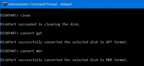 преобразовать диск из GPT в MBR