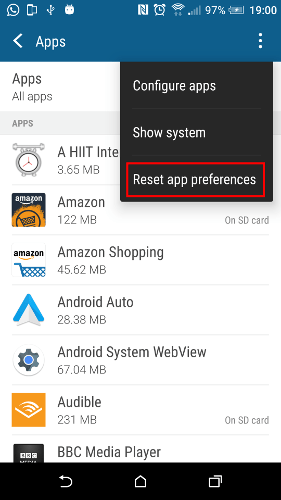 Сброс настроек приложения